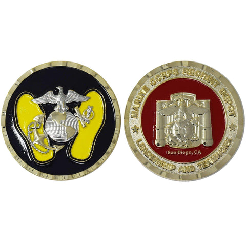 Yellow Footprints MCRD Challenge Coin Challenge Coins