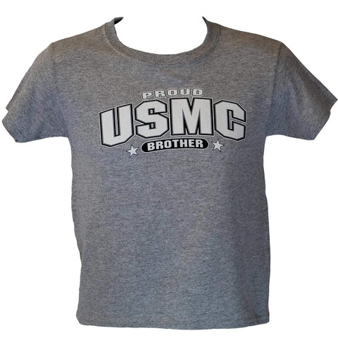 Youth Proud USMC Brother T-Shirt - Heather Grey Youth Apparel