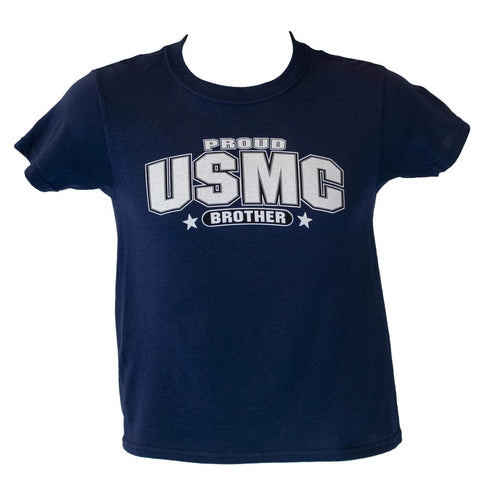 Youth Proud USMC Brother T-Shirt - Navy Blue Youth Apparel