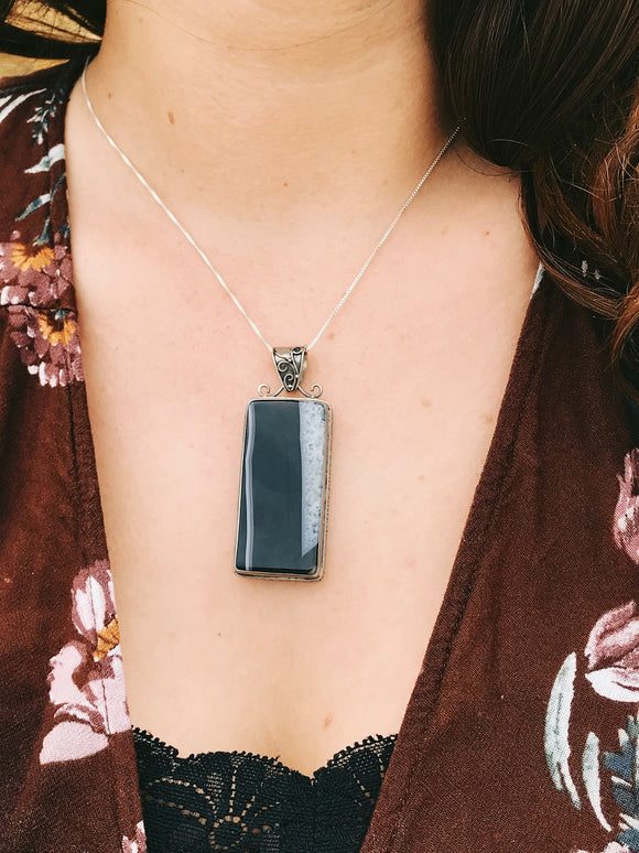 Balanced Black Agate Pendant - Earth's Elements