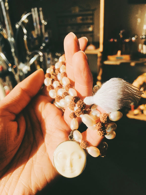 Rudraksha Mala Moon Face w/ Freshwater Pearls - Earth's Elements