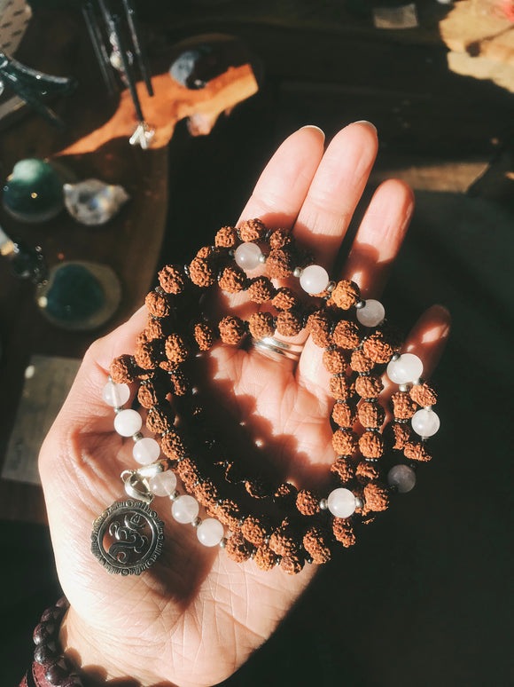 Rudraksha Mala w/ Pink Agate + Balinese Om - Earth's Elements