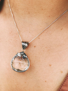 Faceted Quartz Crystal Pendant - Earth's Elements