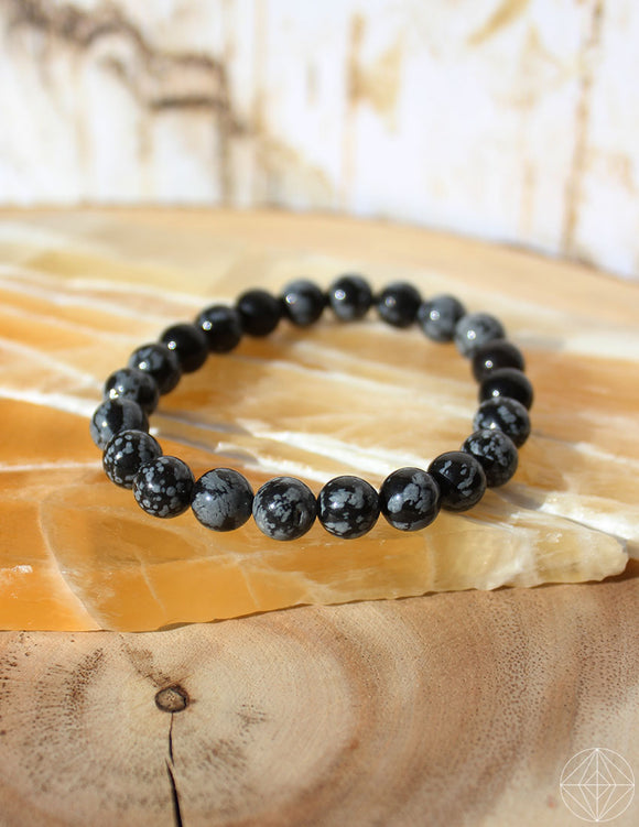 Crystal Bracelet: Snowflake Obsidian - Earth's Elements
