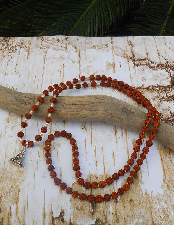 Rudraksha Mala w/ Pearls + Buddha - Earth's Elements