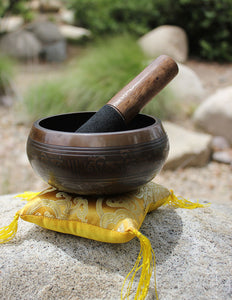 "Tibetan Singing Bowl 5"" Etched - Earth's Elements"