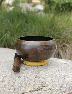 "Tibetan Singing Bowl 7.25"" Etched - Earth's Elements"