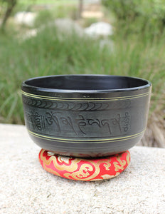 "Black Indian Singing Bowl Deep 8"" - Earth's Elements"