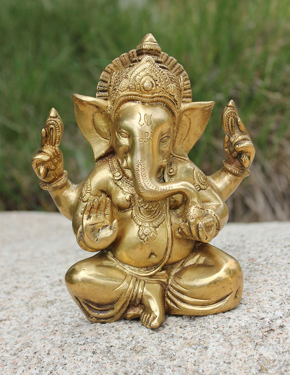 Ganesha Brass Statue - Earth's Elements