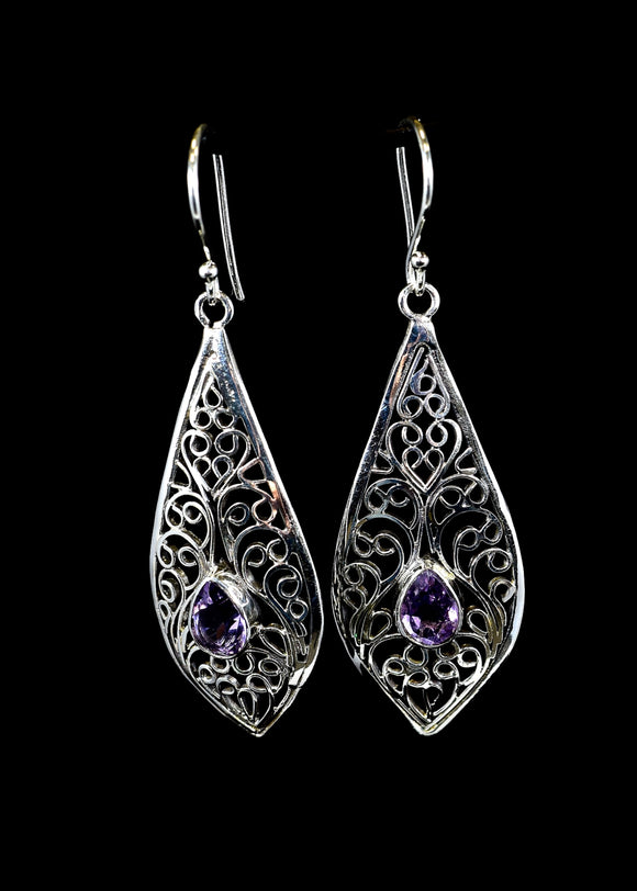 Amethyst Silver Earrings - Earth's Elements