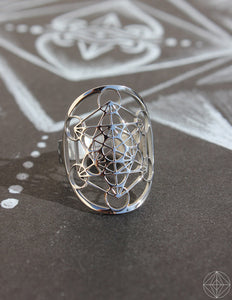 "Sacred Geo Ring - Metatron Cube ""Silver"" - Earth's Elements"