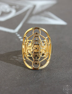 "Sacred Geo Ring - Metatron Cube ""Gold"" - Earth's Elements"