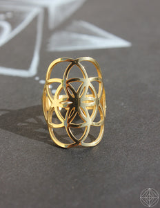 "Sacred Geo Ring - Seed of Life ""Gold"" - Earth's Elements"