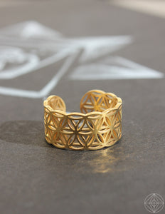 "Sacred Geo Ring - Flower of Life ""Gold"" - Earth's Elements"