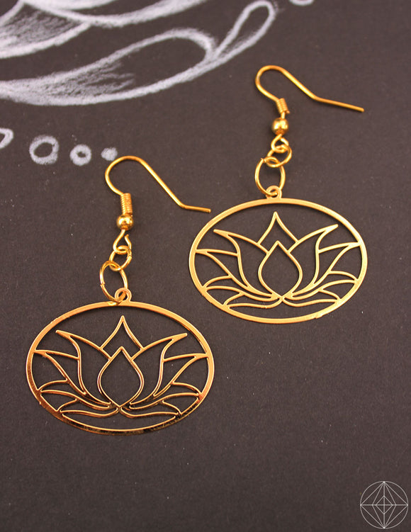 Lotus Gold Earrings - Earth's Elements