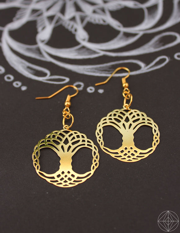 Sacred Geo Celtic Tree of Life Earrings - Earth's Elements