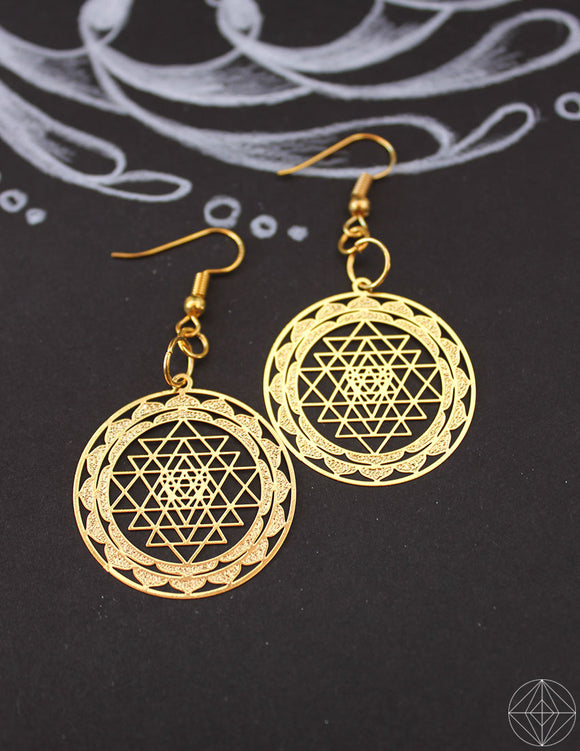 Sacred Geo Sri Yantra Gold Earrings - Earth's Elements