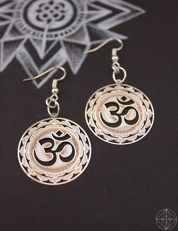 Sacred Geo Aum Silver Earrings - Earth's Elements