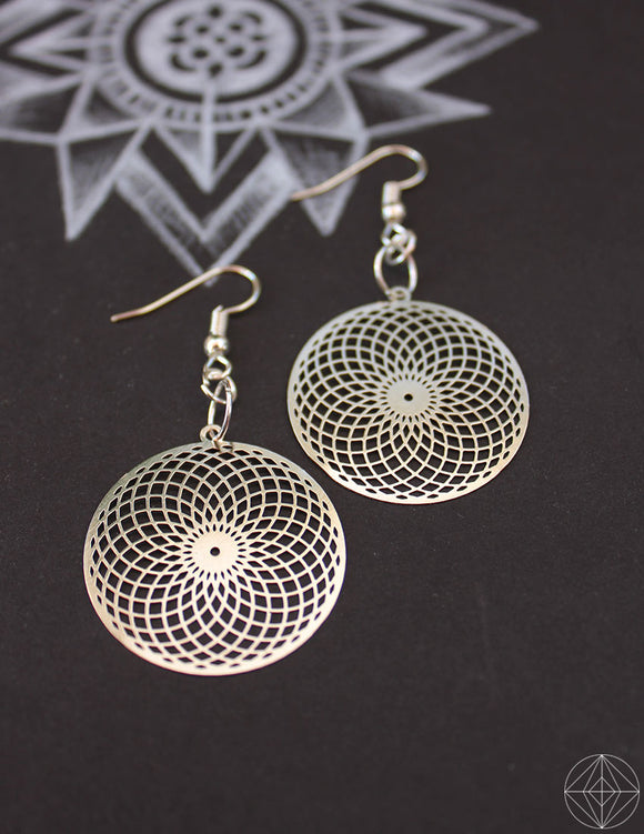 Sacred Geo Torus Silver Earrings - Earth's Elements