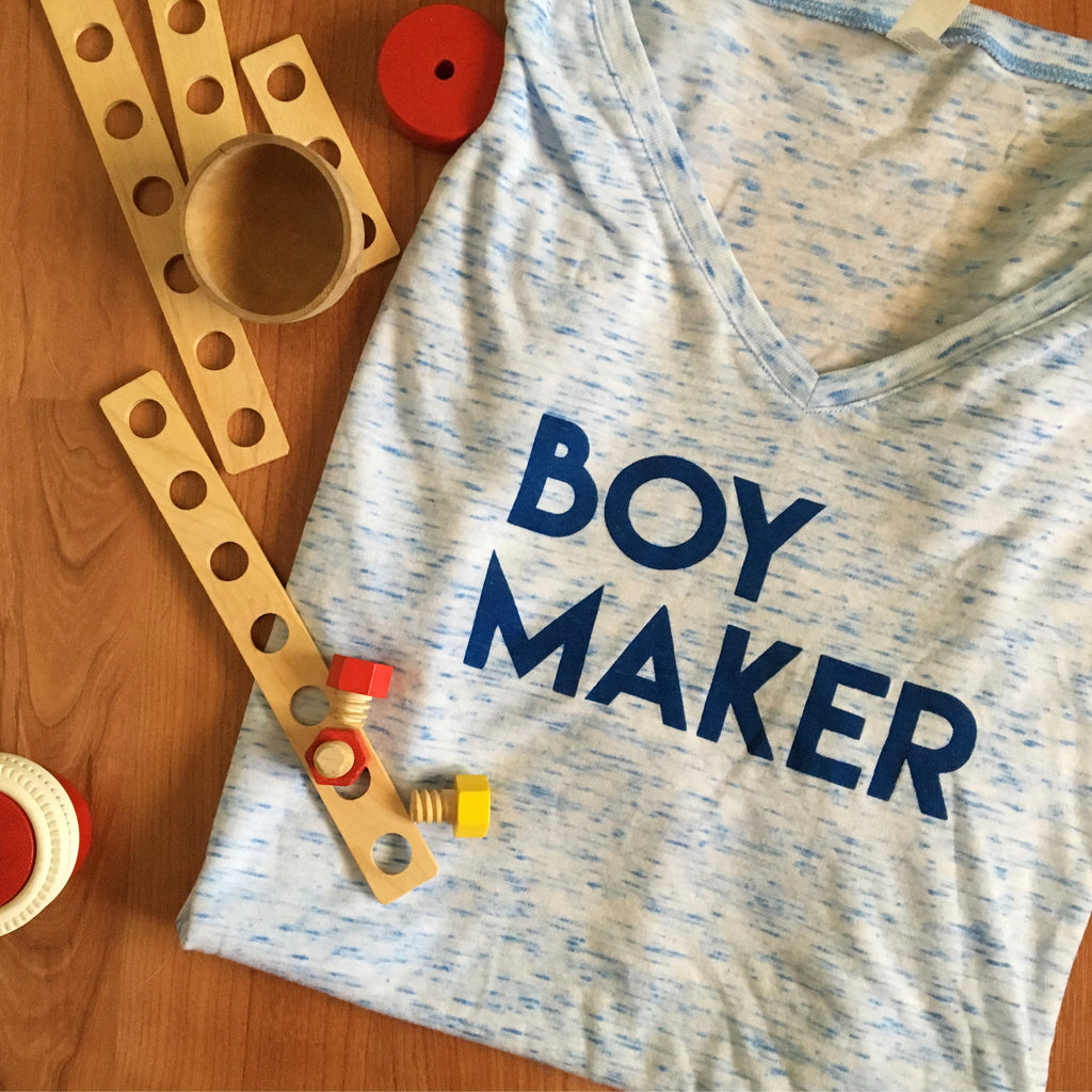 Boy Maker Blue Marble Bella+Canvas Slouchy Vneck Tshirt