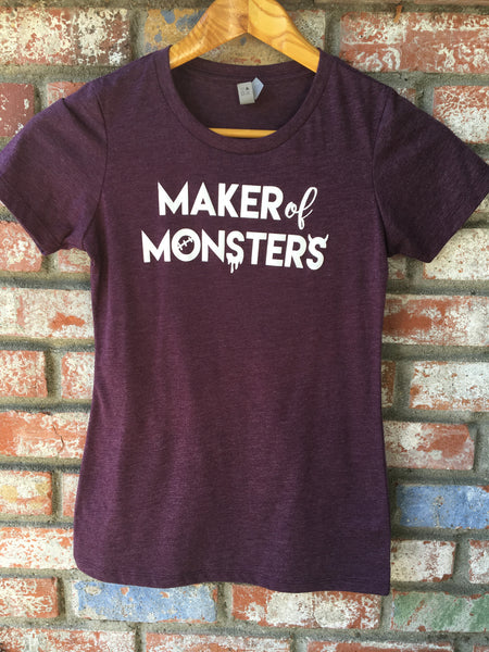 SALE - SMALL - Maker of Monsters Ladies Poly Cotton Next Level Tshirt, Great for Halloween