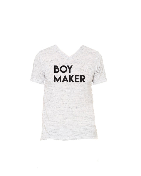 Boy Maker Unisex White Marble V neck Tshirt