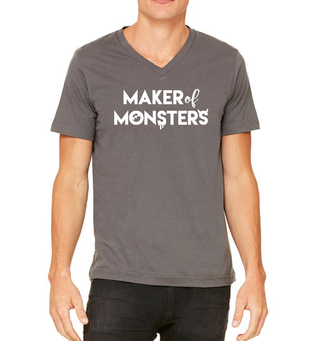 SALE - SMALL - Maker of Monsters Mens/Unisex Cotton Bella+Canvas Vneck Tshirt, Great for Halloween