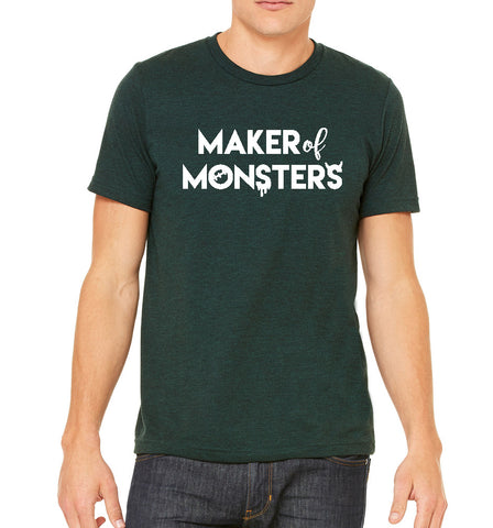 Maker of Monsters Mens/Unisex Triblend Bella+Canvas Vneck Tshirt, Great for Halloween