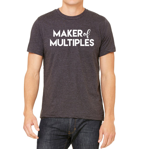 NEW Maker of Multiples Mens/Unisex Cotton Bella+Canvas Tshirt for Dads, dads of multiples, twin dads and triplet dads
