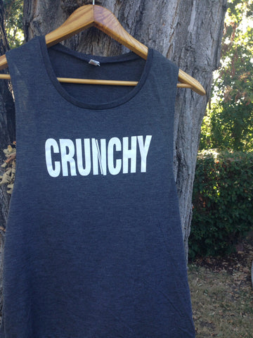 CRUNCHY Black Slub Flowy Scoop Muscle Tank