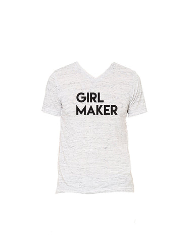 Girl Maker White Marble UNISEX Vneck Tshirt perfect for moms of girls and dads of girls
