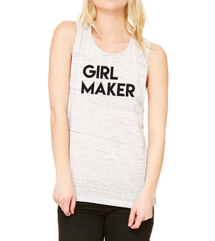 Girl Maker White Marble Muscle Ladies Tank perfect for moms of girls