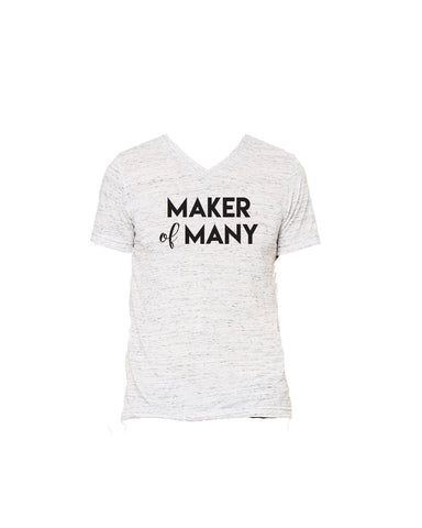 Maker of Many White Marble UNISEX Vneck Tshirt perfect for moms of many and dads of many