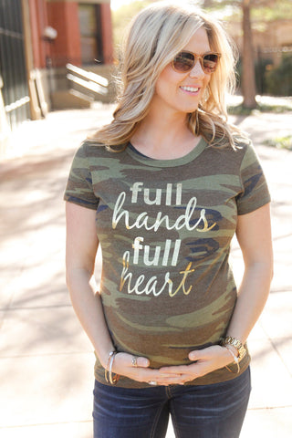 Full Hands Full Heart ECO-CAMO Alternative Ladies Ideal ORGANIC Cotton Tshirt with Gold Foil lettering