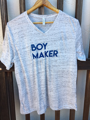 SALE Boy Maker Unisex White Marble V neck Tshirt with Blue Writing