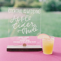 Wedding Cocktail Sign on Acrylic Glass | Wanderlove Press