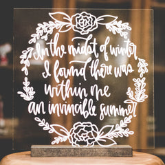 Poem on Acrylic Sign for a Wedding Prop | Wanderlove Press