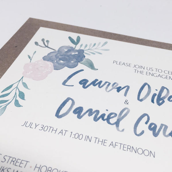 Blue & Pink Floral Engagement Invitation in Watercolor by Wanderlove Press