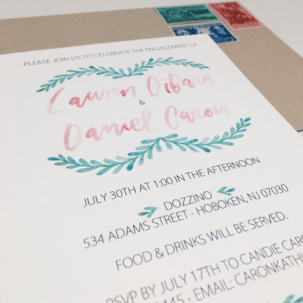 Watercolor Engagement Invitation with Greenery and Hand Lettering by Wanderlove Press