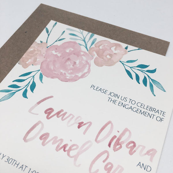 Pink & Peach Floral Engagement Invitation in Watercolor by Wanderlove Press