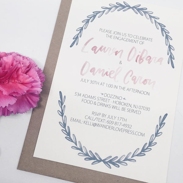 Watercolor Wreath Engagement Invitation by Wanderlove Press