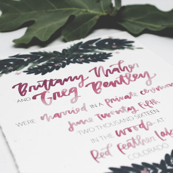 Woodland Wedding Invitations with Forest Greenery and Hand Lettering in Watercolor by Wanderlove Press