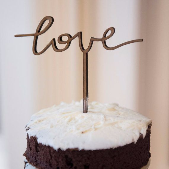 Love Wood Cake Topper