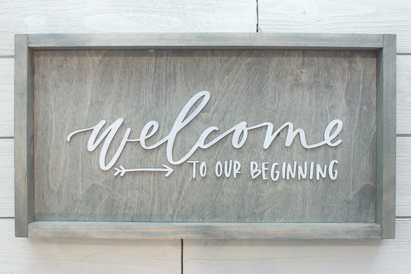 Welcome to Our Beginning Farmhouse Sign