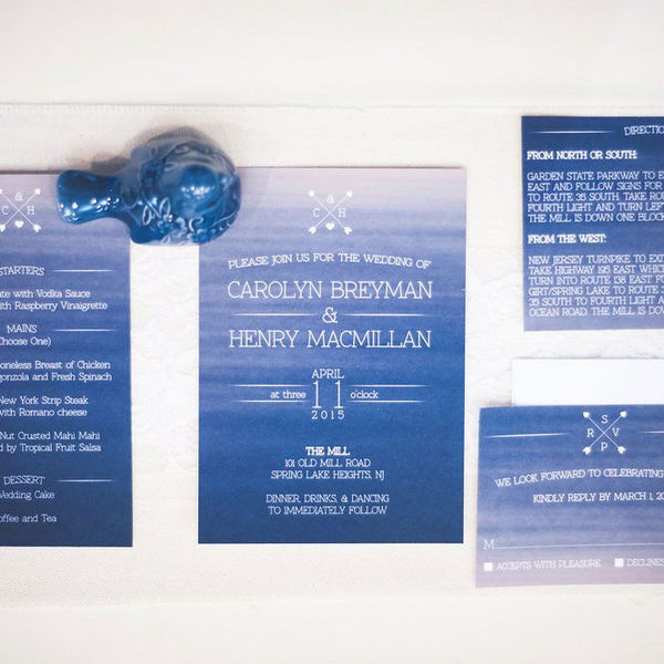 Watercolor ombre nautical wedding invitation