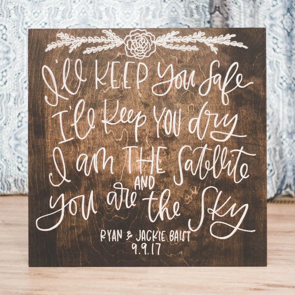 Custom Calligraphy Quote Wood Sign