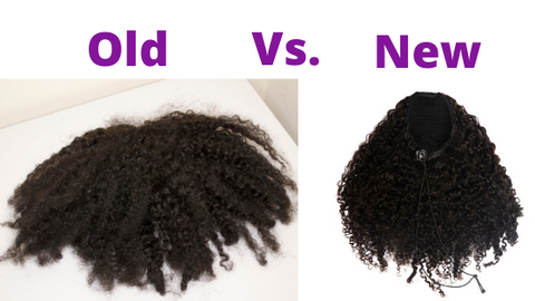 old vs new kinky curls drawstring ponytail