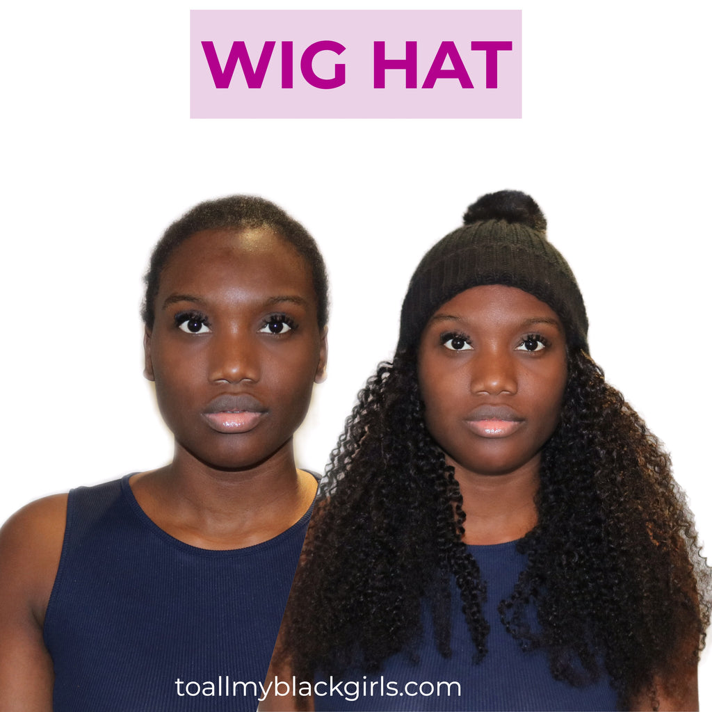Kinky Curls Wig Hat: Hair attached to Bobble Pom Pom beanie hat