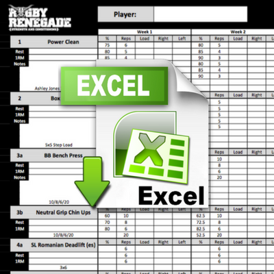 Rugby Renegade Gym Programme Template - Excel programme template