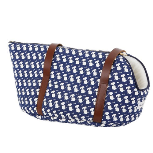 Navy Signature Print Dog Carrier